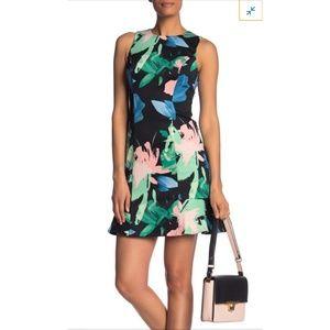 Vince Camuto Floral Scuba Ruffle Dress